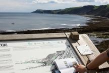 Mirador de Portutxiki, interpretation panel and geological guide of the flysch, Basque Coast Unesco Global Geopark