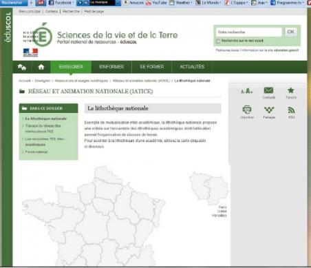 Photos 3. Page de garde d'un site Web relatif aux géosites et dédié à l'enseignement, appelé « lithothèque » sur le site de l'Education nationale (EducScol)