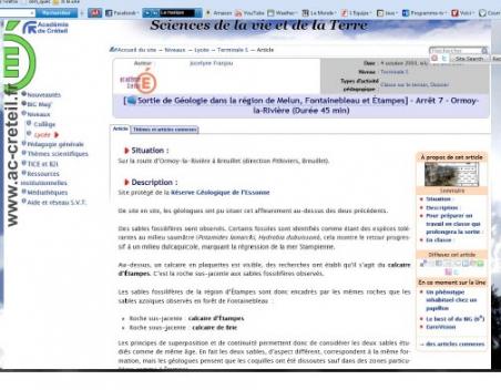 Photo 4 Une des pages web d'une région (exemple pour la région concernant le Stampien.