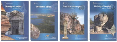 Photo 4. Couverture de volumes de la collection « Patrimoine géologique. Stratotypes » Lutétien (coord. Merle, 2008), Albien (coord. Colleté, 2010), Hettangien (coord.  Hanzo 2012) et Stampien (coord.  Lozouet, 2012).