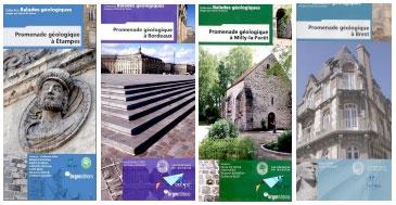 Photo 5. Exemples de promenades géologiques : Etampes (Billet et al., 2008), Bordeaux (Caro et Mulder, 2010), Milly-la-Forêt (De Wever et al., 2009), Brest (Jonin et al., 2012).
