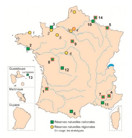 Fig 1. Carte des réserves avec un patrimoine géologique remarquable. Les sites avec un stratotypes sont cerclés de rouge.